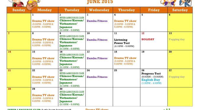 Trường Philinter: Lịch học và hoạt động tháng 6
