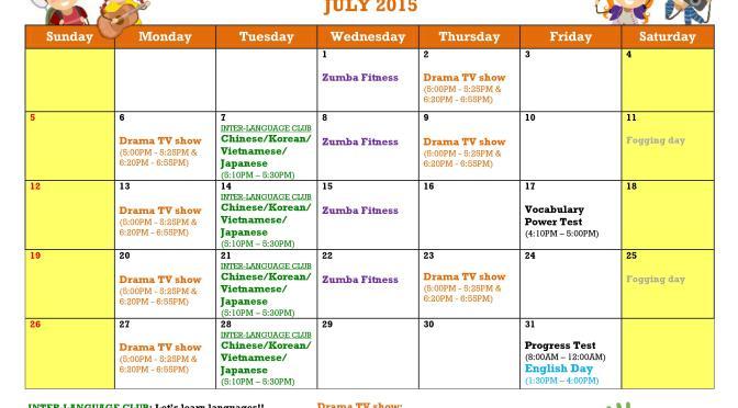 Lịch hoạt động tháng 7 tại Trường Anh ngữ Philinter