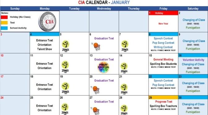 CIA: Lịch học, hoạt động và sự kiện đến tháng 04/2016