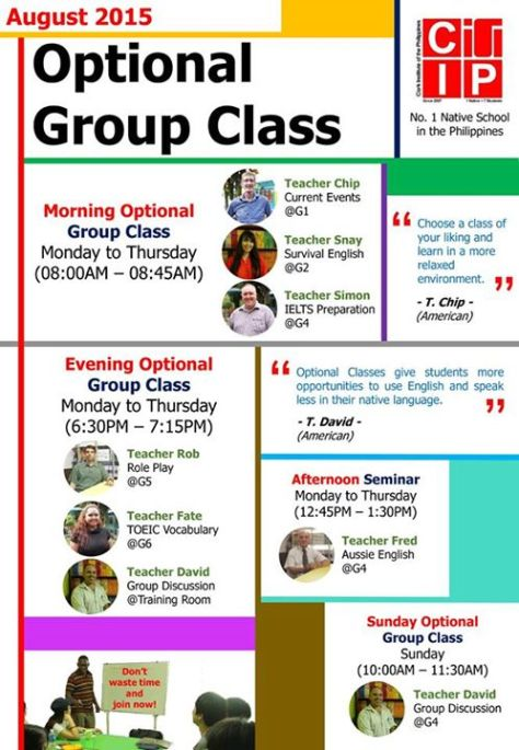 CIP August Optional Group Class
