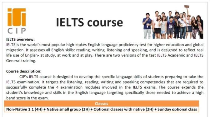 Trường CIP: Chương trình đào tạo khóa IELTS, ESL và TOEIC