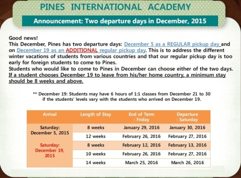 PINES Baguio two departure days in December, 2015