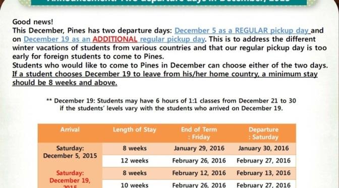 Pines: thêm ngày nhập học vào tháng 12