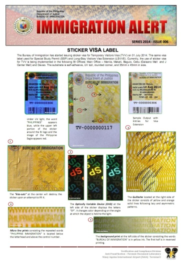ALERT SERIES 2014 ISSUE 006 VISA EXTENSION STICKER TYPE1