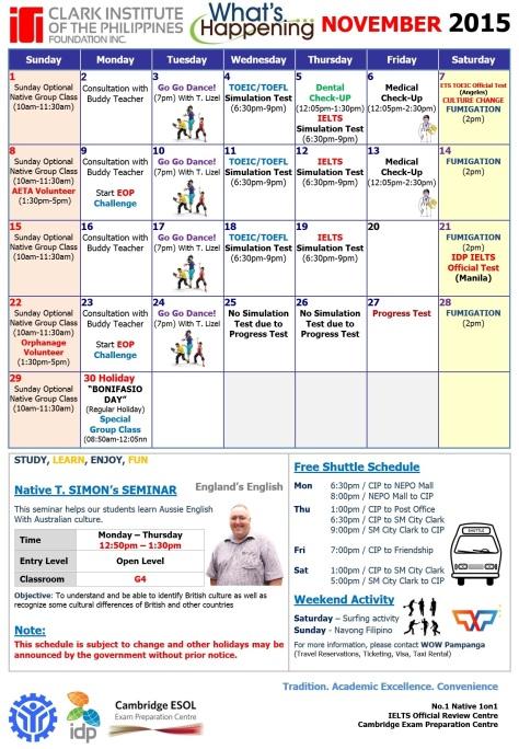 CIP calendar for Nov