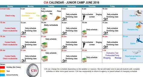 Lịch học và thư giãn, du lịch tháng 6/2016