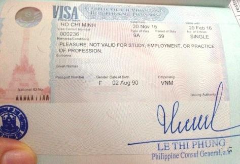 Visa 59 ngày được cấp khi xin trước tại Việt Nam