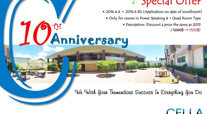 Trường CELLA: giảm 100 USD/ 4 tuần mừng sinh nhật lần thứ 10