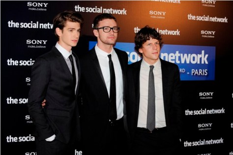 Premiere The Social Network Andrew GARFIELD, Justin TIMBERLAKE AND Jesse EISENBERG Paris - 03/10/2010