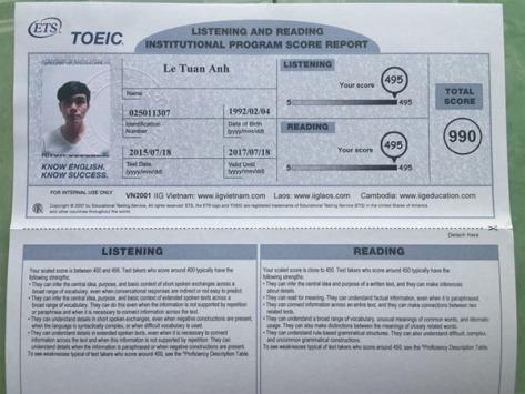 Bảng điểm TOEIC 990/990 của Lê Tuấn Anh.