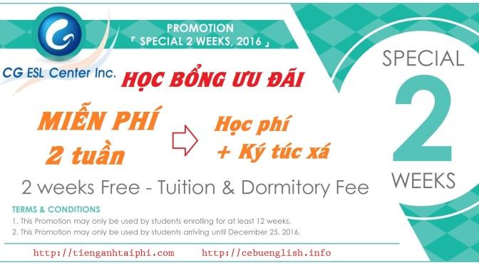 Trường CG: Học bổng miễn phí 2 tuần học phí + KTX du học tiếng Anh Philippines