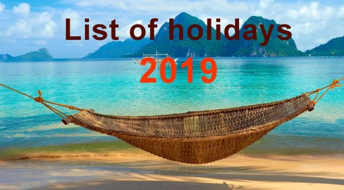 Chú ý – Lịch nghỉ lễ ở Philippines năm 2019