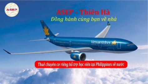 Thuê chuyên cơ Vietnam Airlines đón học viên tại Philippines về Việt Nam